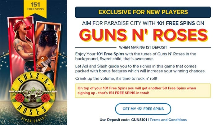 Guns N Roses Free Spins Promotion