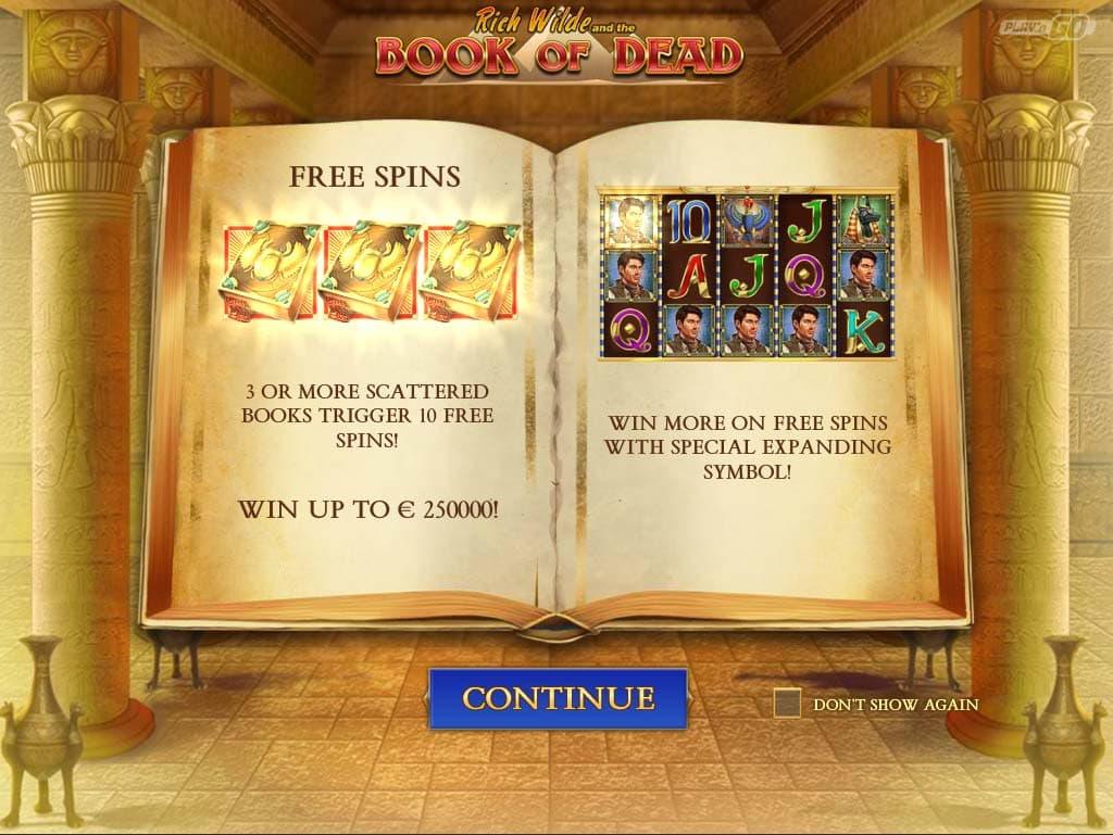 Book of Dead Slot - Intro Screen