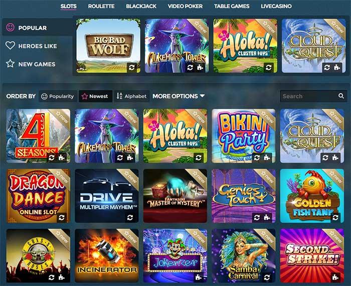 Casino Heroes Slot range