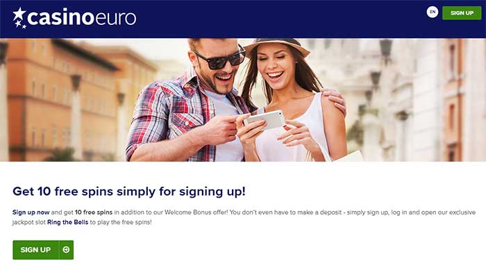 CasinoEuro Free Spins Landing Page