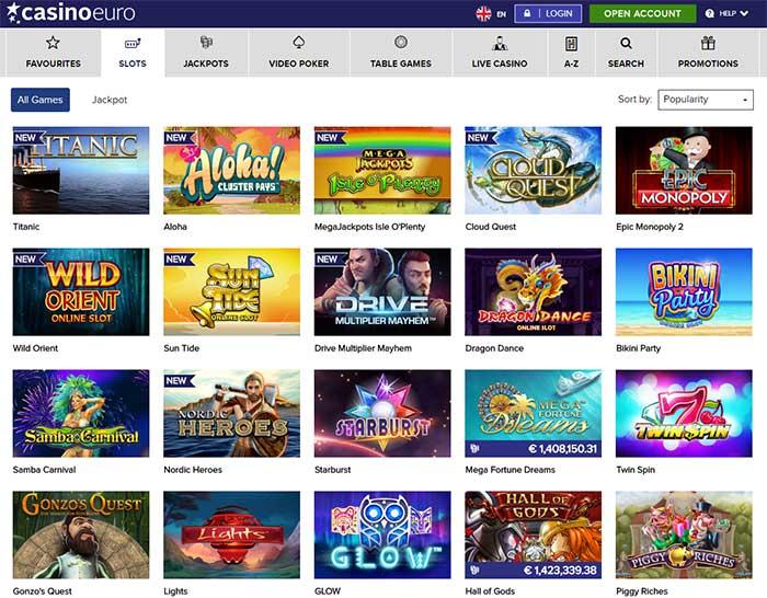 CasinoEuro Online Slots Range