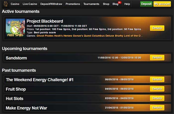 Energy Casino Slots Tournaments