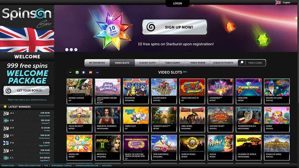 Spinson Casino range of slots