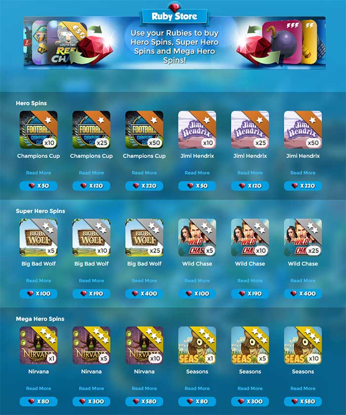 Casino Heroes Ruby Store Rewards