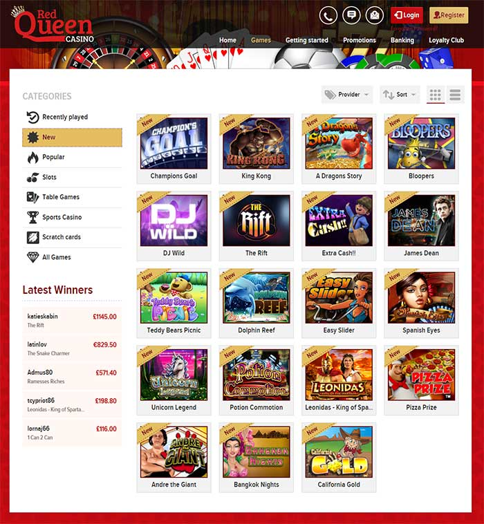New Online Slots at Red Queen Casino