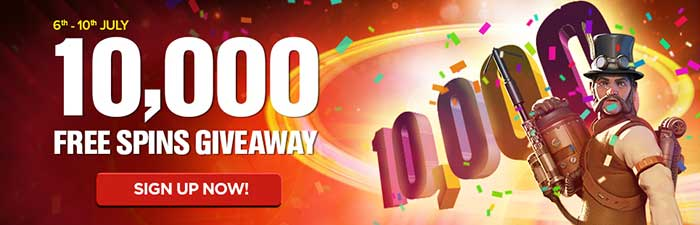 10,000 Free Spins Giveaway