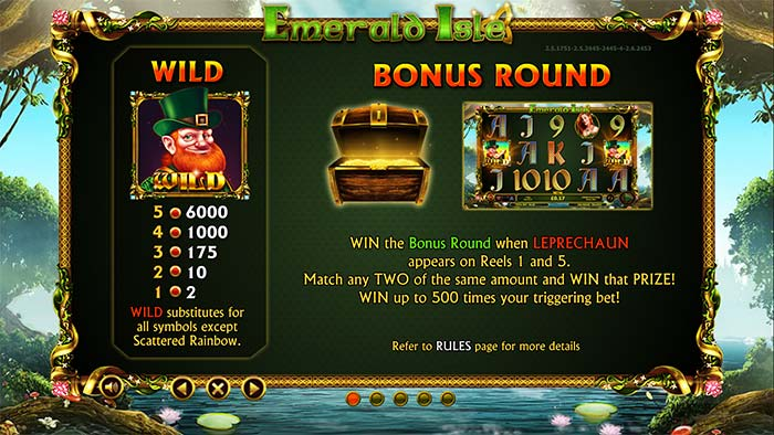 Emerald Isle Slot Bonus Round Paytable