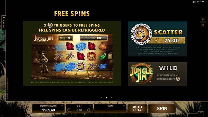 Jungle Jim Slot bonus multipliers