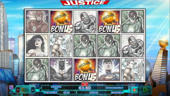 Justice League free spins trigger