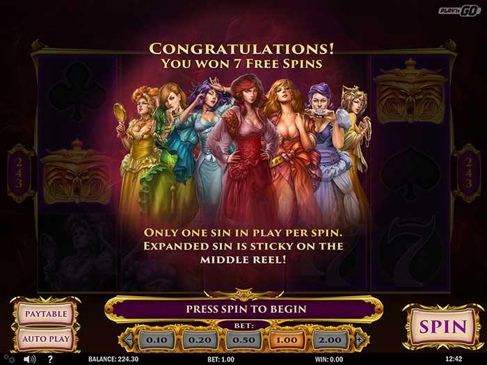7 Sins Slot free spins round