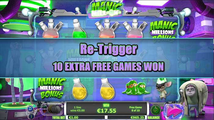 Manic Millions Slot free spins re-trigger