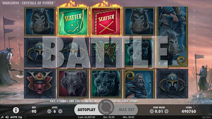 Warlords - Crystals of Power Slot battle mode