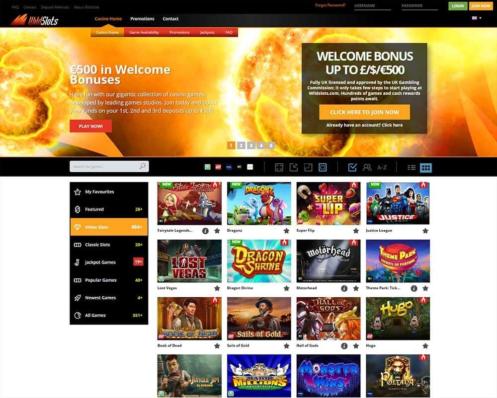 WildSlots Casino range of slots