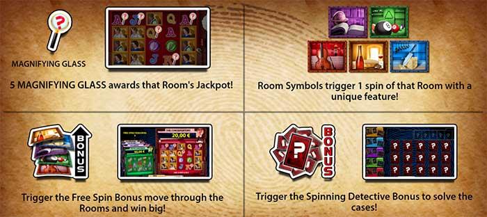 Cluedo Spinning Detectives Slot bonus features