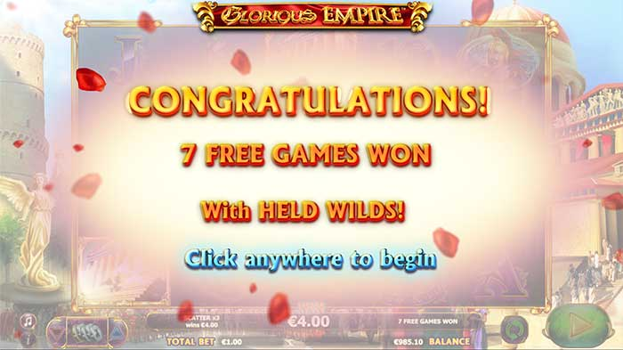 Glorious Empire Slot free spins round
