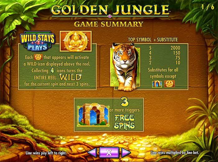 Golden Jungle Slot paytable