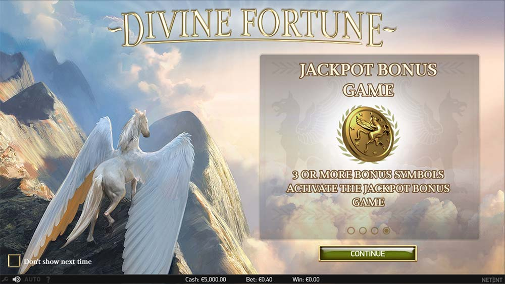 Divine Fortune Slot - Intro Screen