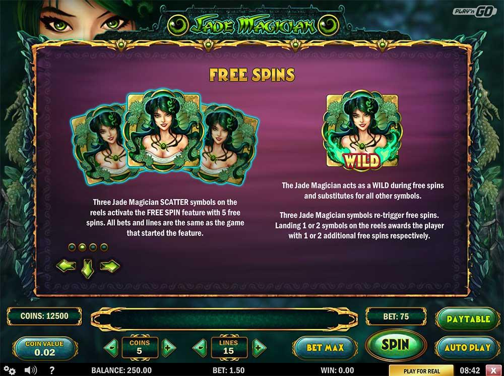 Jade Magician - Paytable