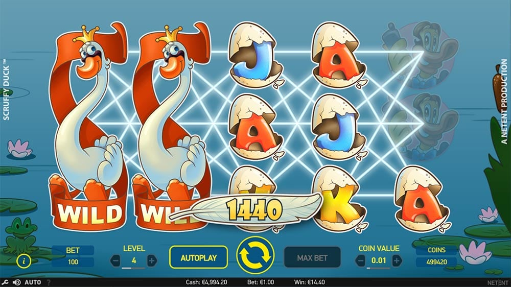 Scruffy Duck Slot - Expanding Wilds Feature