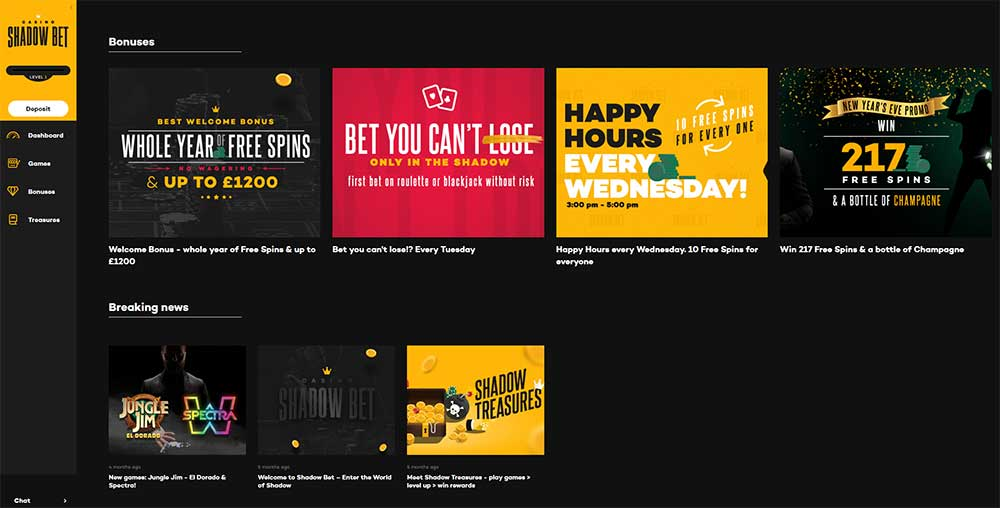 Shadow Bet Casino - Bonuses and current promotions