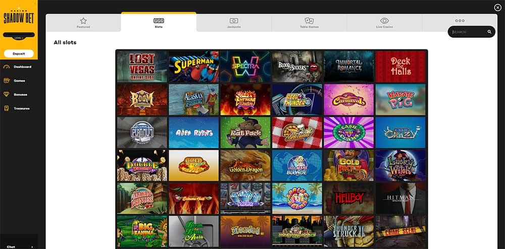 Shadow Bet Casino - Range of Online Slots