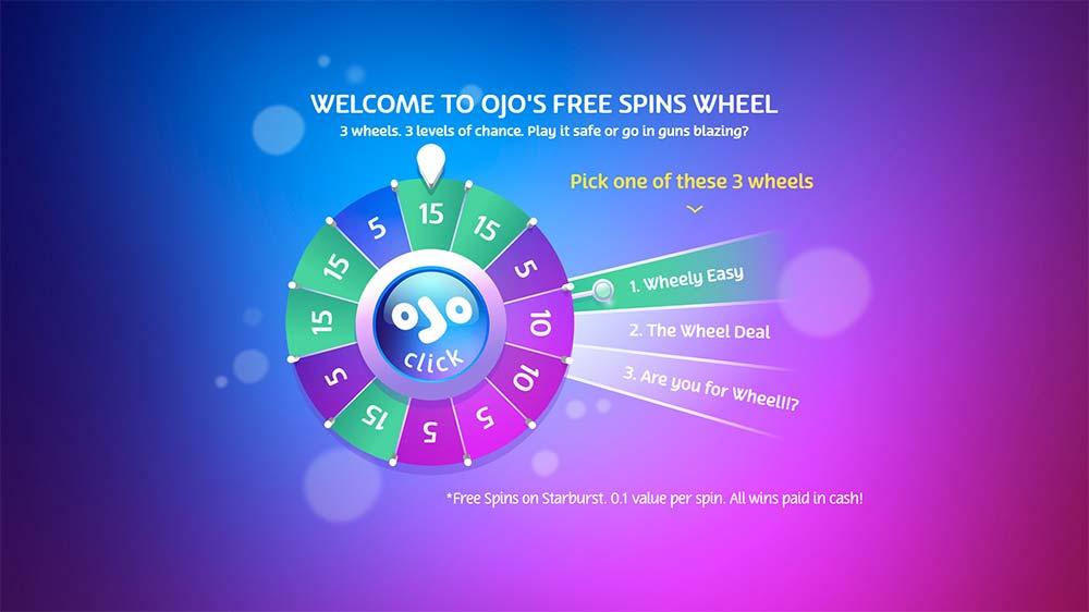 PlayOJO Casino Free Spins Wheel Feature