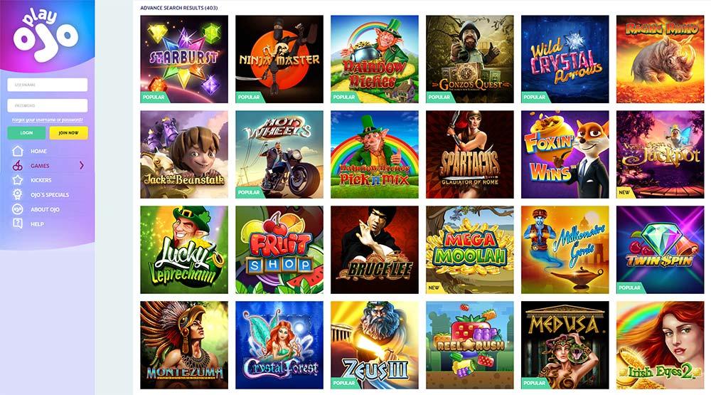 PlayOJO Casino range of online slots