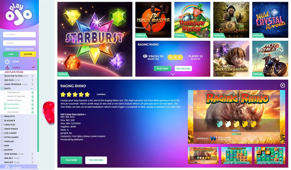 PlayOJO Casino Slots details