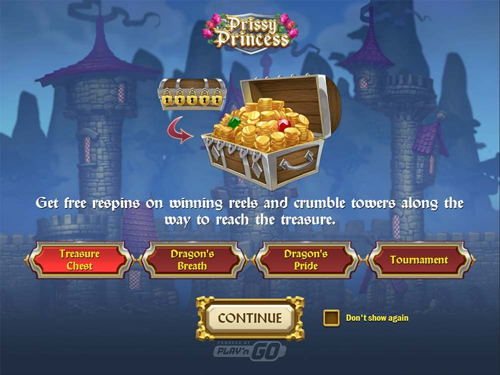 Prissy Princess Slot - Intro Screen