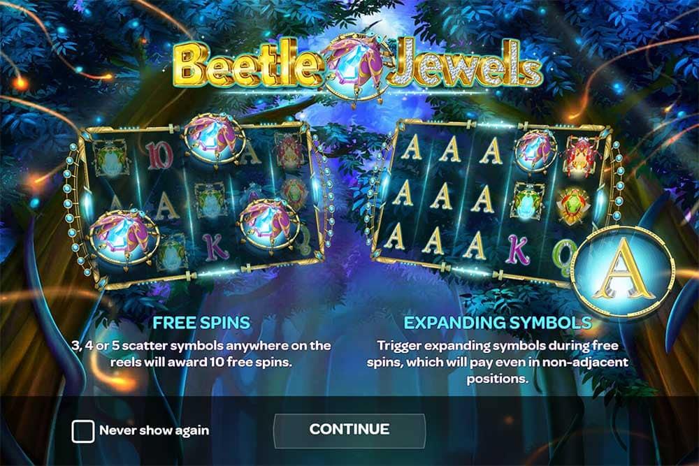 Beetle Jewels Slot - Intro Screen