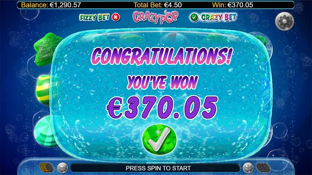 Crazy Pop Slot - Bonus End Result