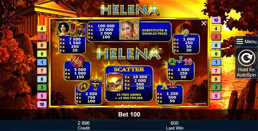 Helena Slot - Paytable