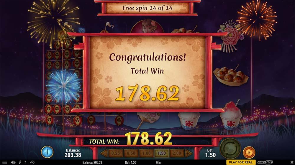 Matsuri Slot - Bonus Round End
