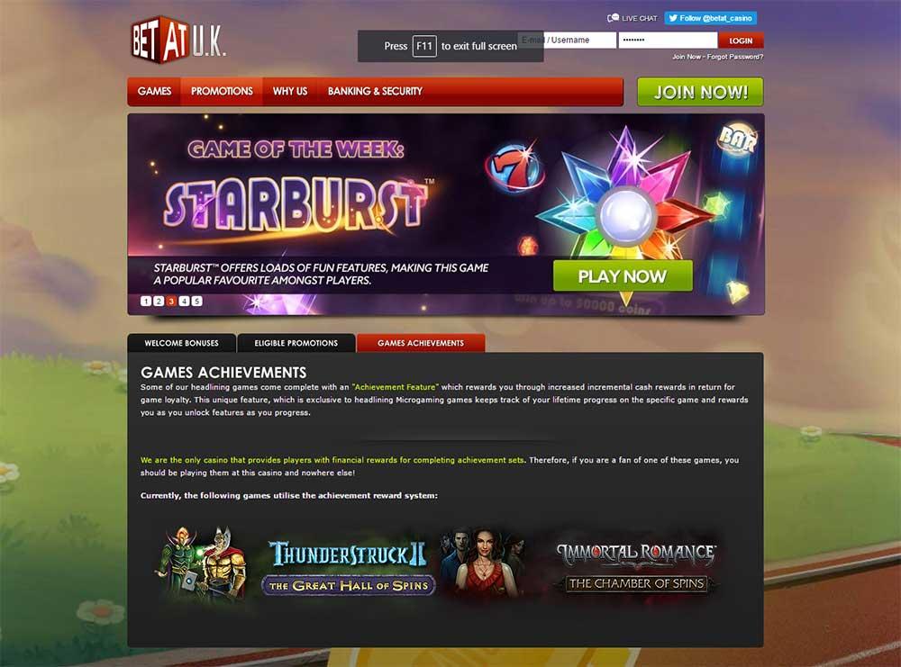 BetAt Casino Game Achievements