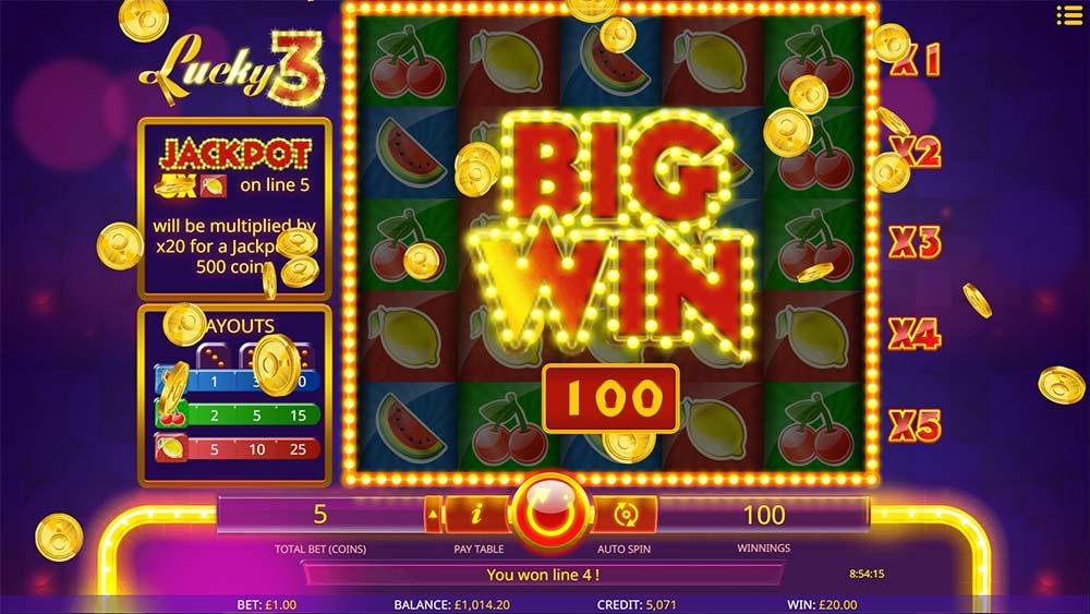 Lucky 3 Slot - Big Win