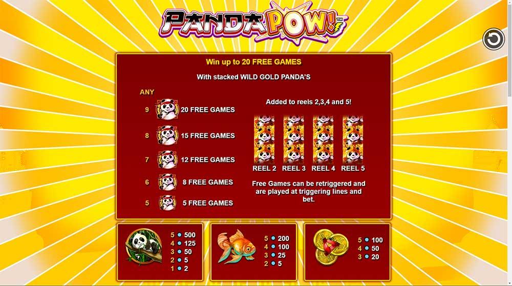 Panda Pow Slot - Paytable
