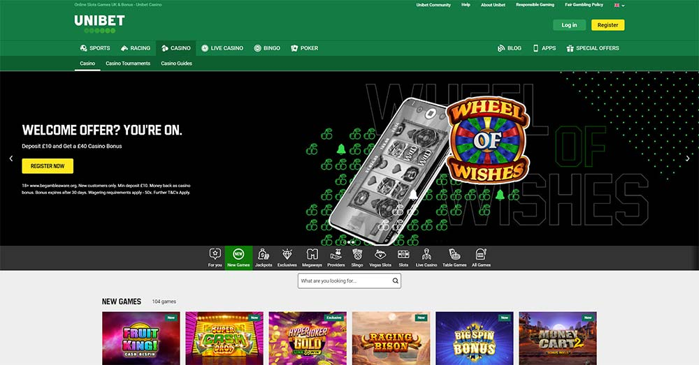 Unibet Casino - Slots Lobby