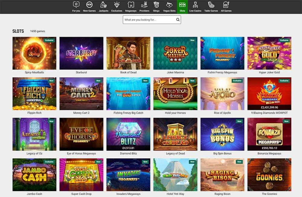 Unibet Casino Range of Online Slots