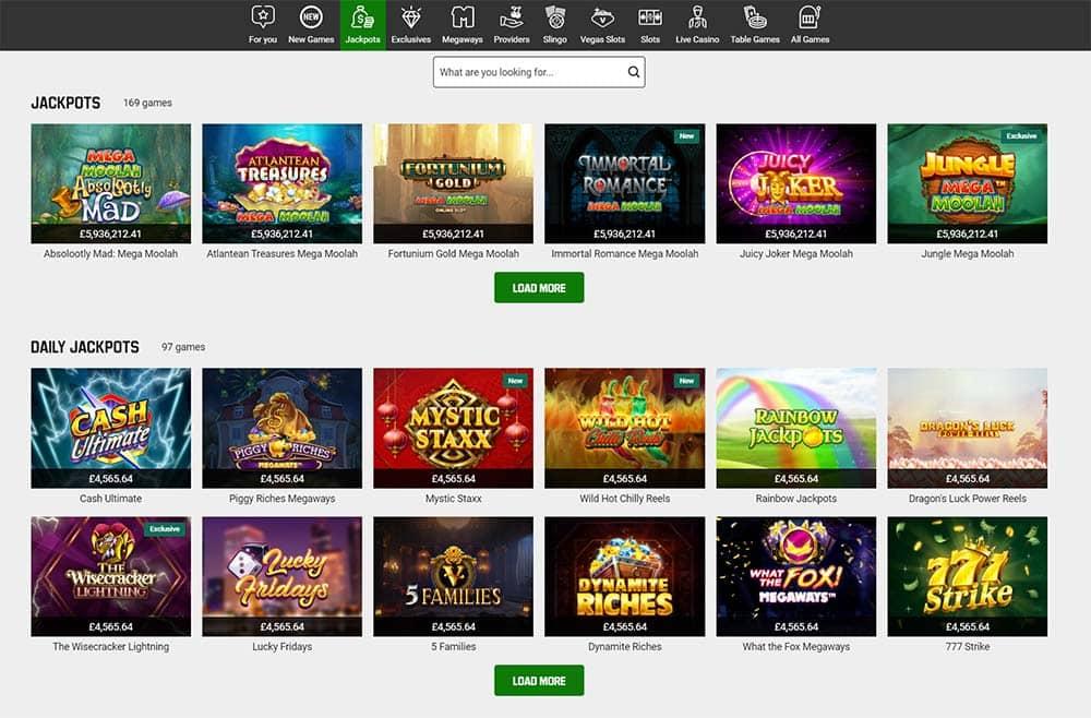 Unibet Casino Jackpot Slots Page