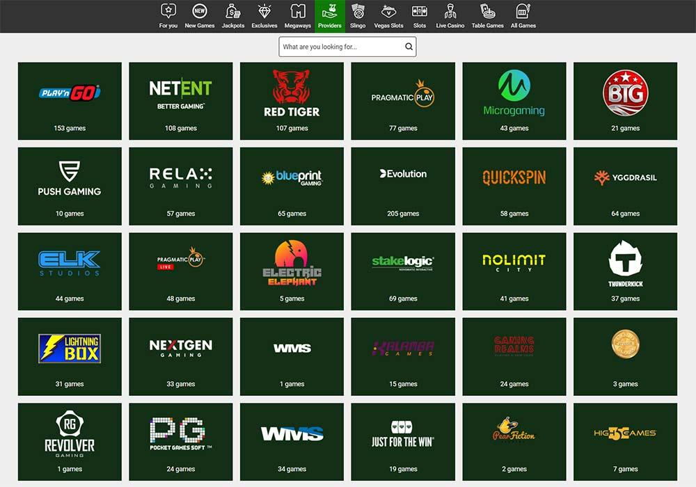 Unibet Casino Slot Provider Filter List
