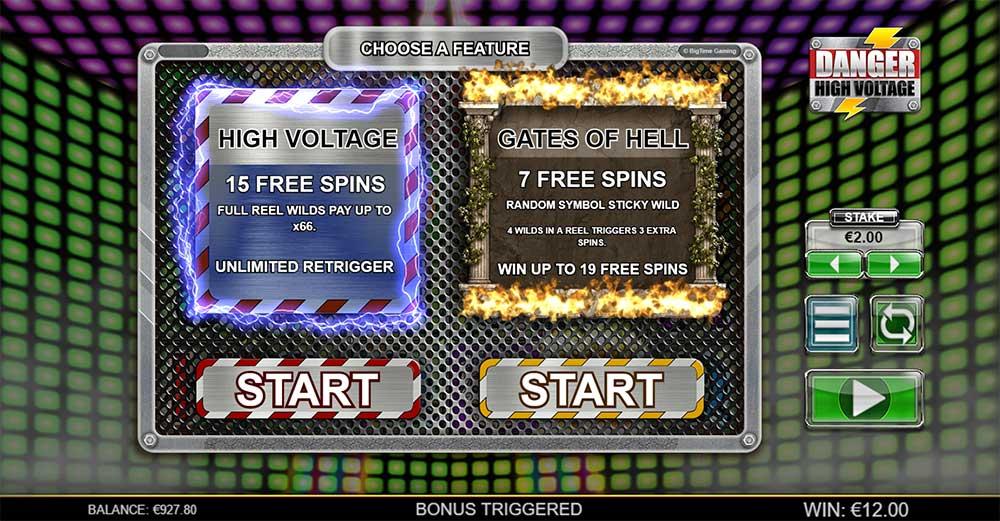 Danger High Voltage Slot - Free Spins Selection