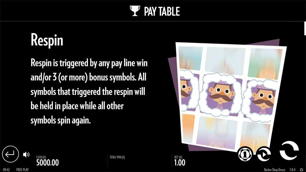 Barber Shop Uncut Slot - Pay Table