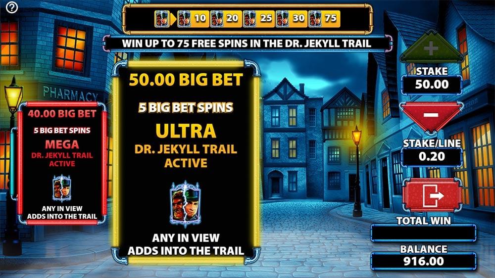 Dr. Jekyll Goes Wild Slot - Big Bet Modes