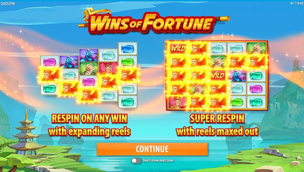Wins of Fortune Slot - Intro Screen