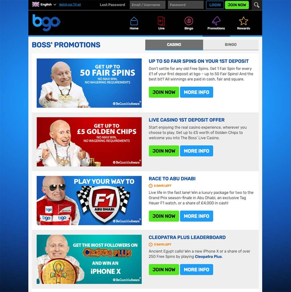 BGO Casino - Promotions