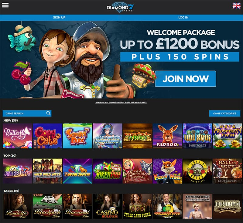 Diamond 7 Casino Home Page