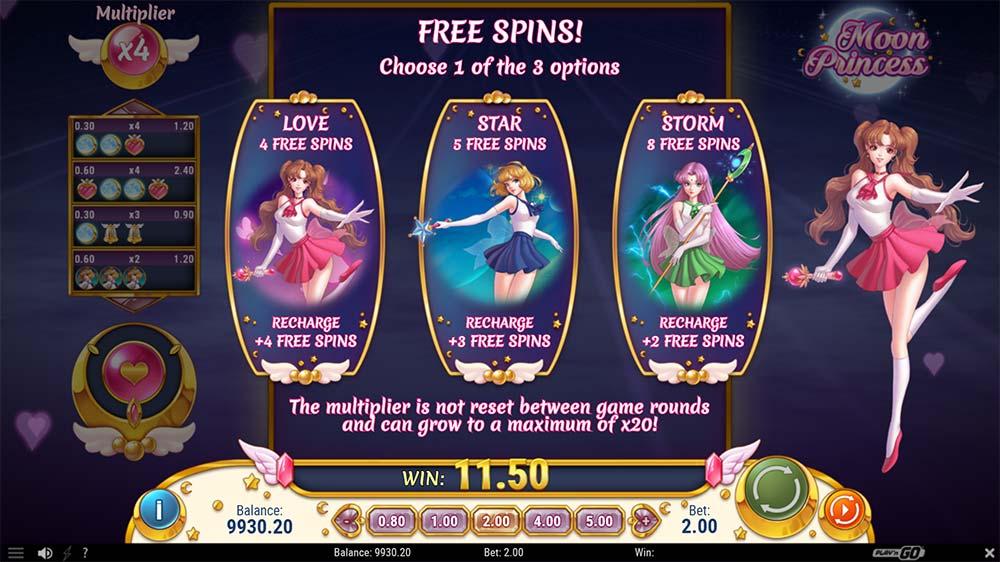 Moon Princess Slot - Free Spin Options