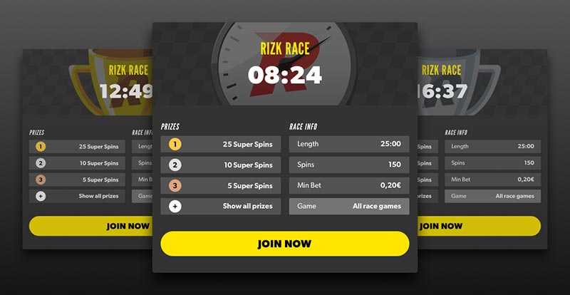 Rizk Casino Races Tournaments