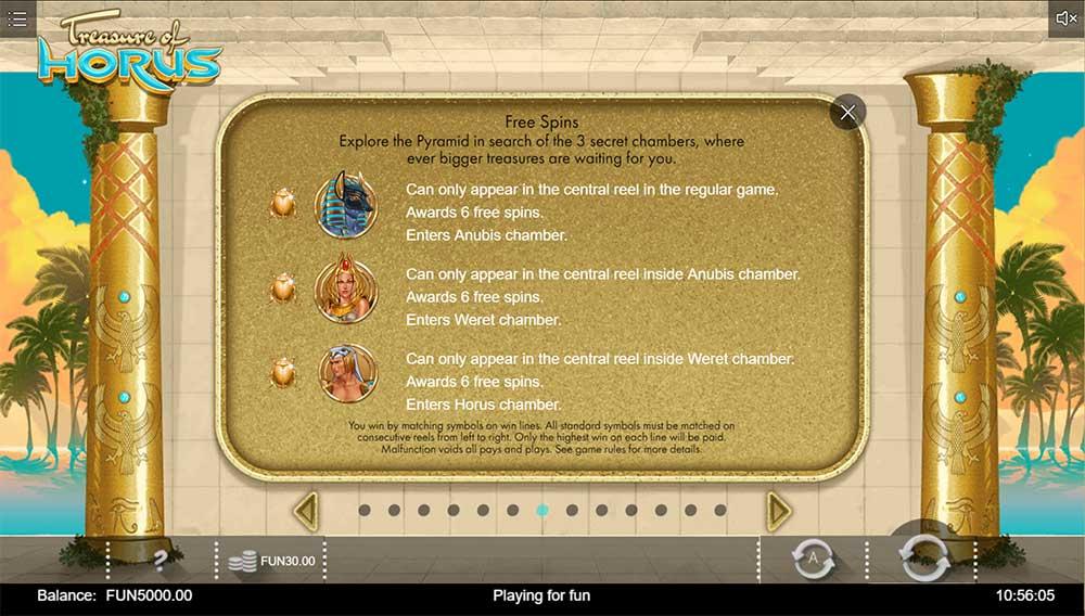 Treasure of Horus Slot - Paytable