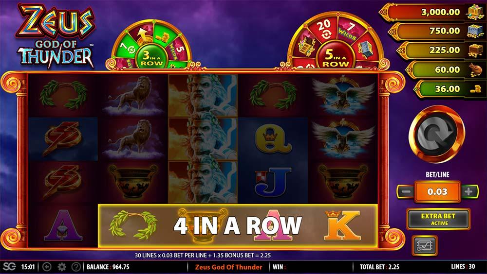 Zeus God of Thunder Slot - 4 In A Row Trigger